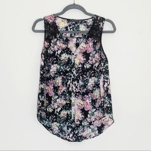 ASTR Floral Print Blouse with Lace Detail Size XS